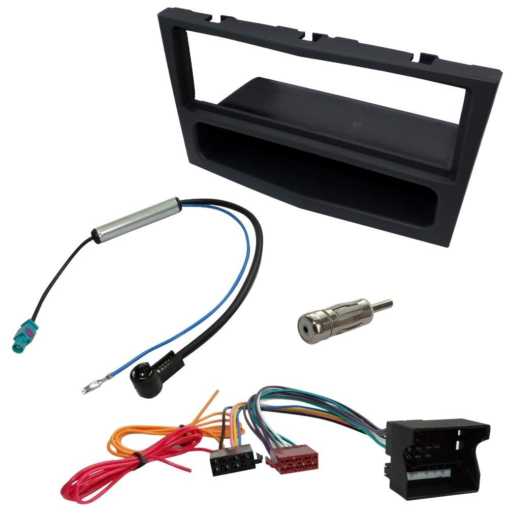 Kit Adaptateur Autoradio Cadre Noir 1 DIN C/âble Faisceaux pour autoradio C1440C4641C16462C11158 AERZETIX