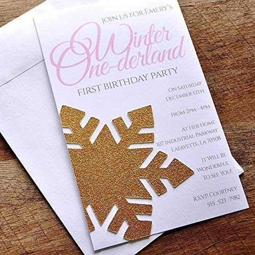 Winter Onederland Invitations and Envelopes. We Print, Cut, Glue and Ship to You in 1-3 Business Days. -