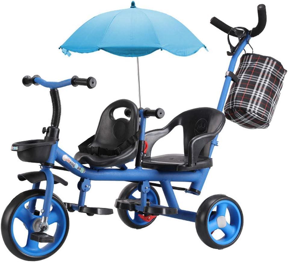 TATANE Carro De Los Niños, Biplaza De Dos Plazas Triciclo, Acero De Alto Carbono Material De 1-6 Años De Tres Ruedas del Cochecito De Bebé,B