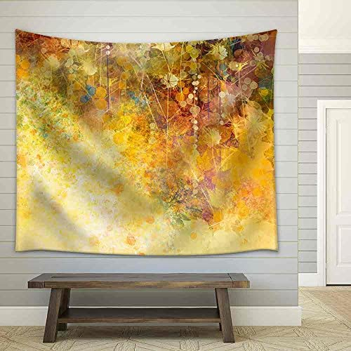 Abstract Watercolor Painting White Flowers and Soft Color Leaves Fabric Wall