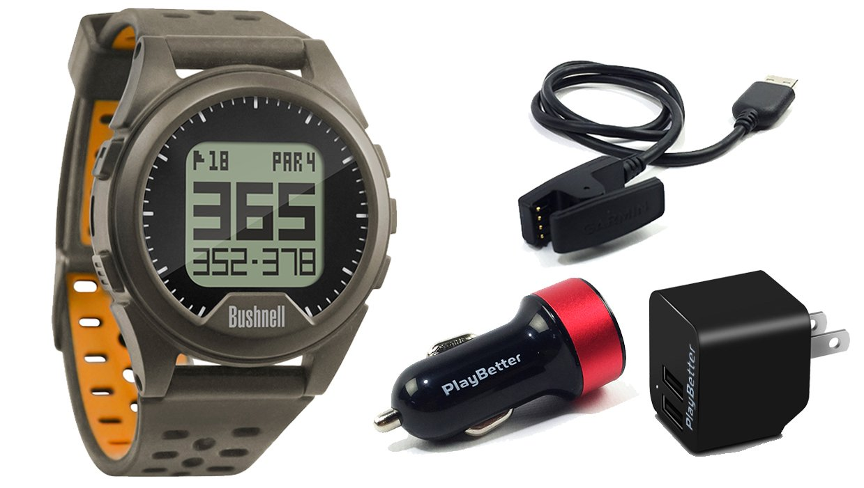 Bushnell Neo Ion (Charcoal) POWER BUNDLE with PlayBetter USB Wall & Car Charging Adapters | Golf GPS Watch, 35,000+ Worldwide Courses