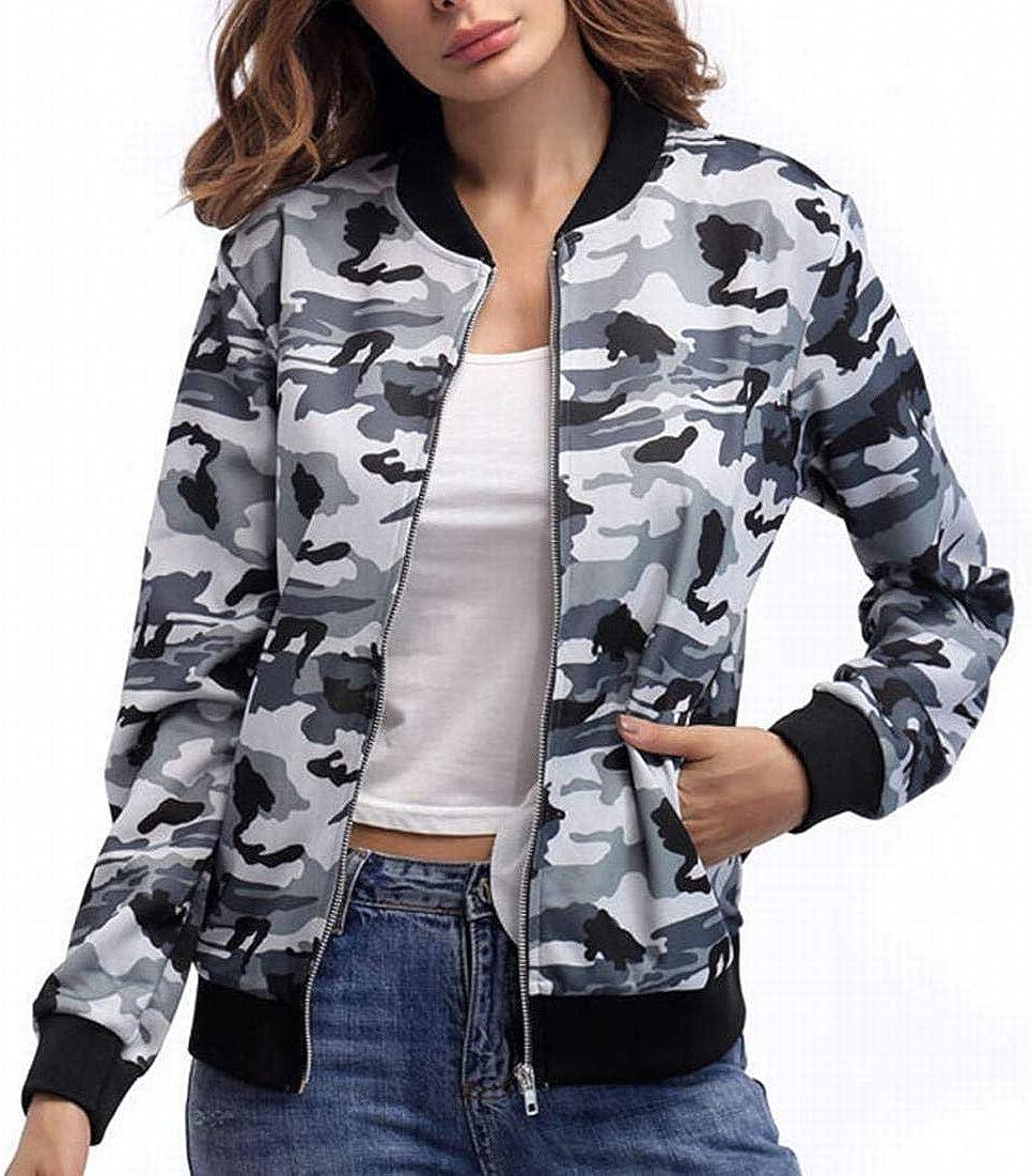 Futopion Womens Stand Collar Zip Up Camouflage Bomber Jacket