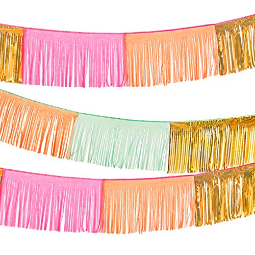 Lings moment 3Pcs 9.8FT Tassel Garland Banner, Tissue Tassel Garland, Fringe Curtains, Party Streamers Garland for Birthday Wedding Baby Shower Cactus Party Bridal Shower (Gold+Orange+Mint/Rose)