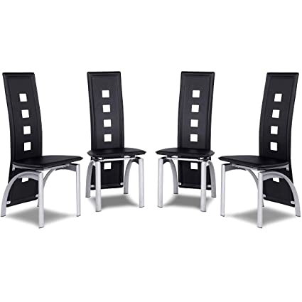 Amazon Com Modern Style Dining Room Chair Set 4 Piece Leather