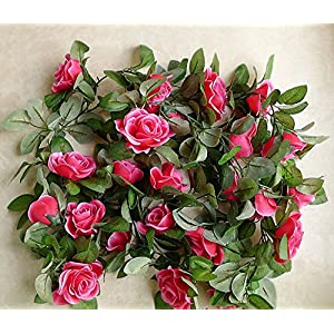 Flower Garland 86″ Artificial Silk Rose Garland 2 Strands Fake Flower Vine Plants for Wedding Decoration Table Runner Centerpieces (Fuschia)