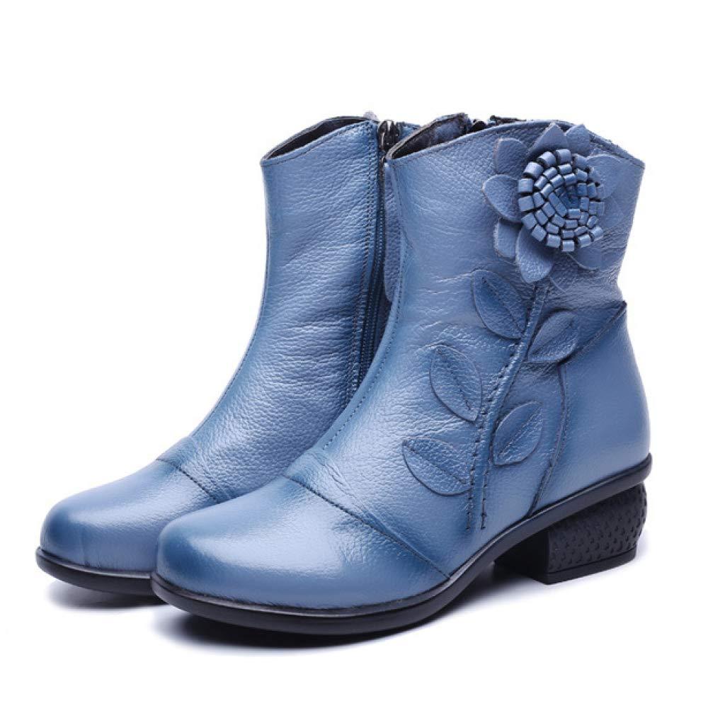 Frauen Low Block Heel Stiefeletten Leder Ethnischen Stil Blaumen Große Größe Reißverschluss Stiefelies Schuhe Vintage Casual Warme Biker Stiefel