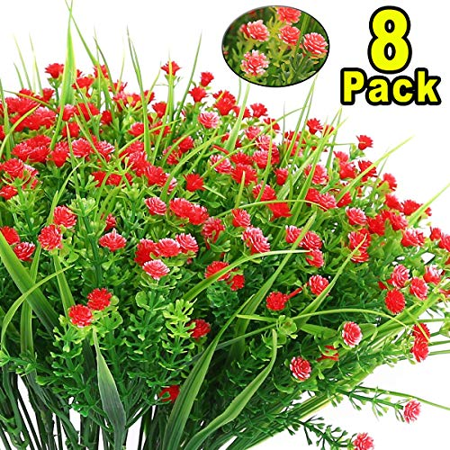 Artificial Flowers - 8 Pack Fake Flowers Outdoor UV Resistant Greenery Shrubs Artificial Plants Fake Flowers Indoor Outside Hanging Planter Home Kitchen Office Wedding Garden Decoration