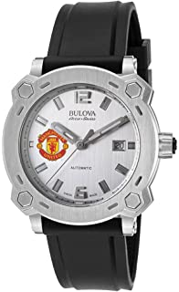 534038f75641 Men s Bulova Watch Stainless Steel AccuSwiss Automatic w  Silver Dial and Manchester  United Crest