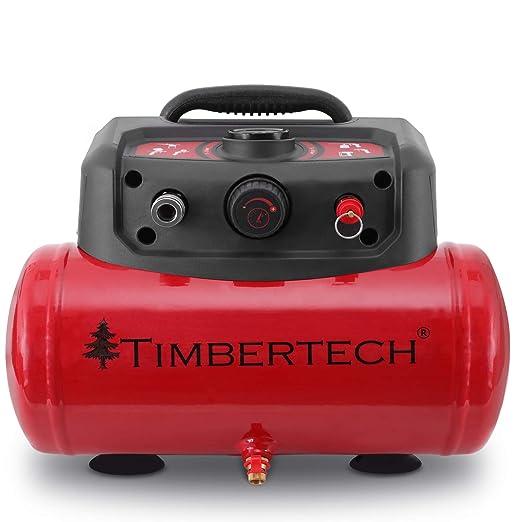 TIMBERTECH Compresor de aire | 8 bar, depósito 6 litros, 3750 rpm | Compresor sin aceite: Amazon.es: Bricolaje y herramientas