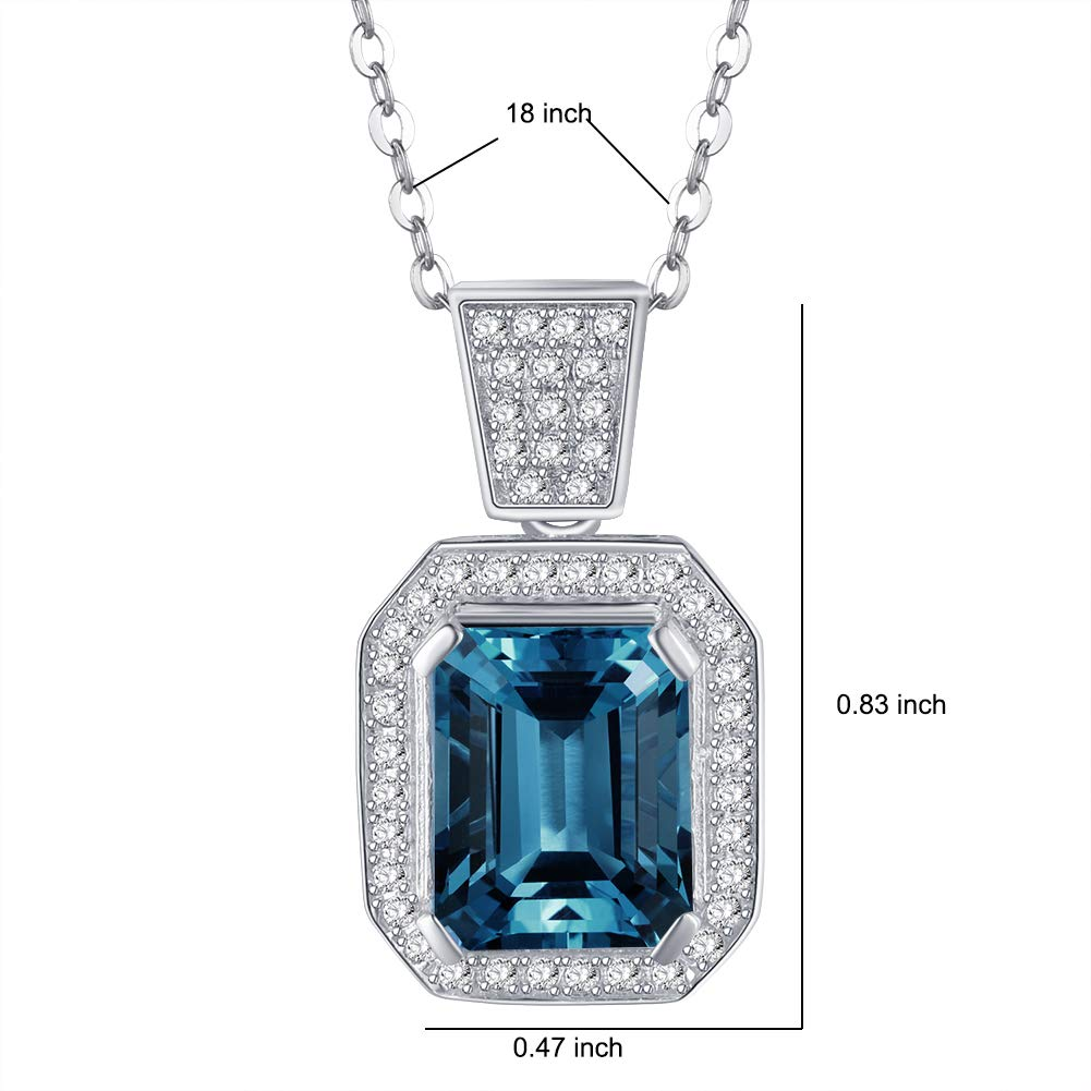Blue Topaz 3.84ct Pendant Necklace Cubic Zirconia CZ Gemstone Dainty Charm Party Jewelry For Women Girls 18 Fancime 925 Sterling Silver Emerald Cut Citrine 3.18ct