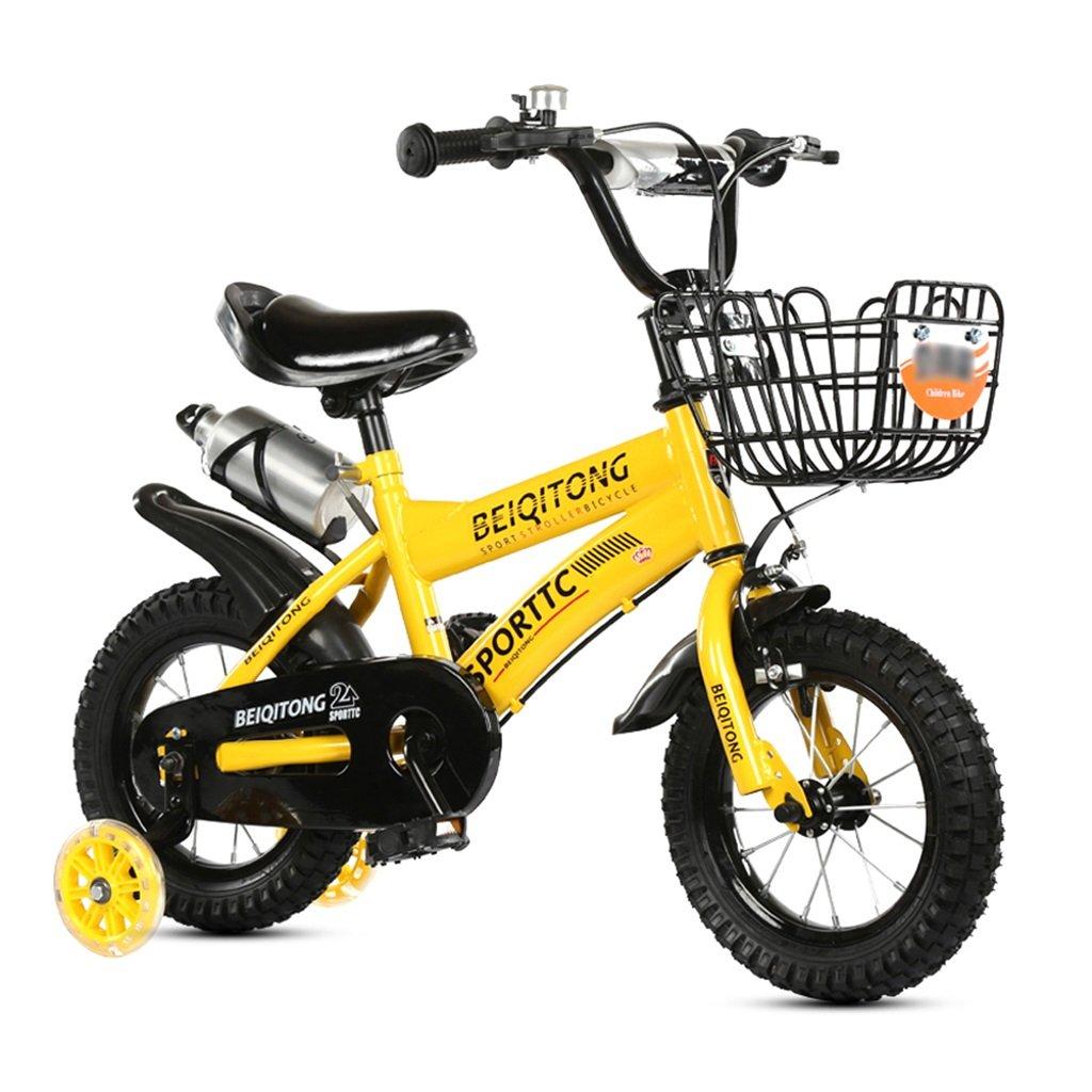 子供の自転車12|14|16|18|20インチ屋外の子供ベイビーキッドマウンテンバイクフラッシュトレーニングホイールで2歳から11歳の男の子の女の子の贈り物|アイアンバスケット|ウォーターボトルセーフダンプイエロー B078JZ8FRZ 14 inches