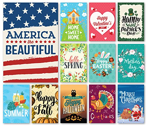 Happy Yard Seasonal Garden Flag Set for Outdoors | Set of 12 Artistically Designed Flags | 12-inch x 18-inch | Holiday Themed, Durable & Double-Sided (Flag Banner Easter)