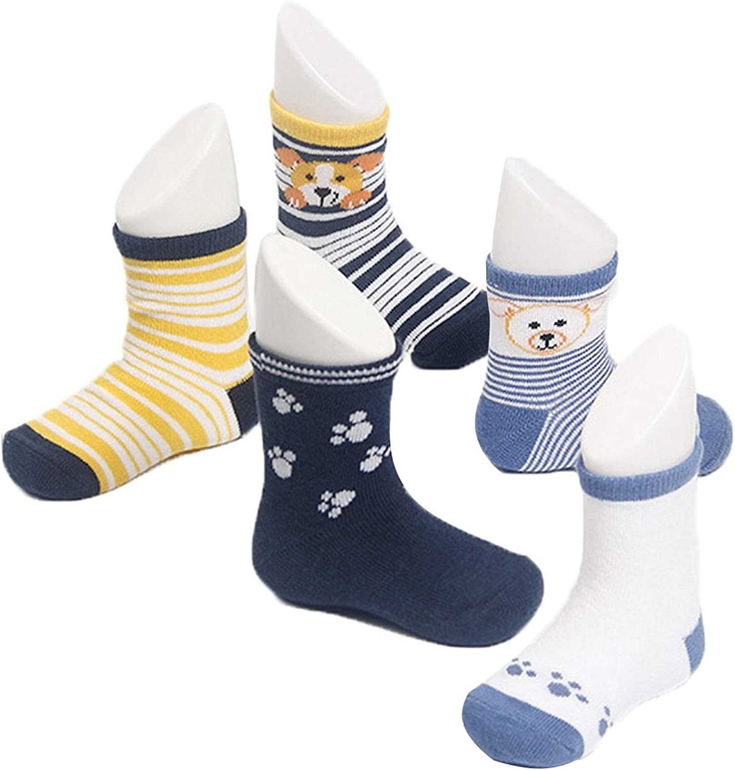 0-1 years old Century Star Unisex Child Kid Infant Baby Cotton Soft Cute Seamless 1-3t 5 Pairs Socks 5 Pack-Dog S