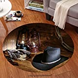 Sophiehome Soft Carpet 59433094 American West rodeo cowboy black felt hat with old burning kerosene oil lamps and authentic traditional rancher tools over wood in Anti-skid Carpet Round 47 inches