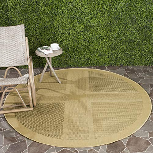 Safavieh Courtyard Collection CY1928-1E01 Natural and Olive Indoor/ Outdoor Round Area Rug (5'3
