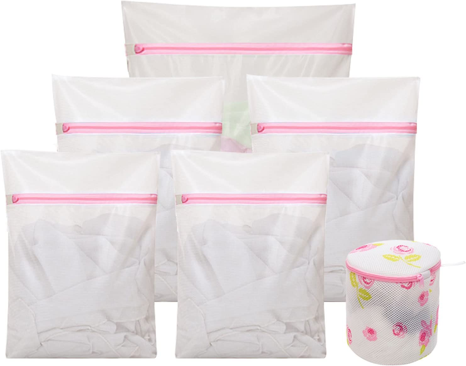 Set of 6 Mesh Laundry Wash Bags (1 Extra Large, 2 Large, 2 Medium, 1 Bras Bag) for Washing Machine Delicates Durable Net Organizer Travel for Bra,Kids Clothes,Lingerie Red Zipped(White)