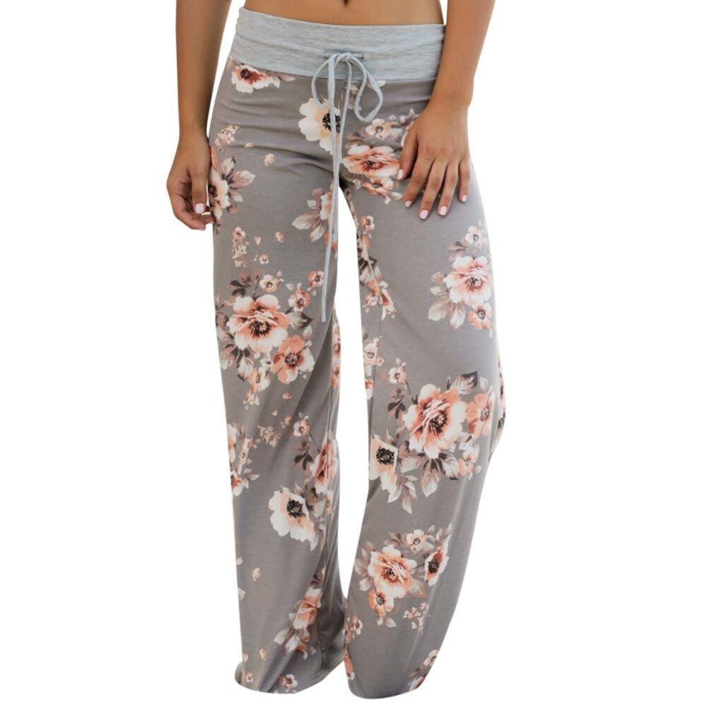 JOFOW Womens Wide Leg Pants Flowers Print Drawstring Long Loose Pajamas Tracksuit
