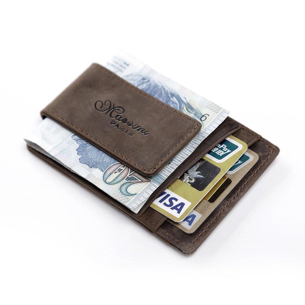 Teemzone Cuir pleine fleur Pinces à billets Porte-Monnaie Homme Cuir véritable Portefeuille Pour poches pantalon ou veste Porte-cartes de crédit aimant (Brun clair) K308/K850
