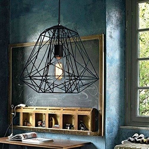 BAYCHEER HL371511 Retro Hive Cage Pendant Light Black Reel Iorn Painting Ceiling Light Fixture Flush Mount with 1 Light
