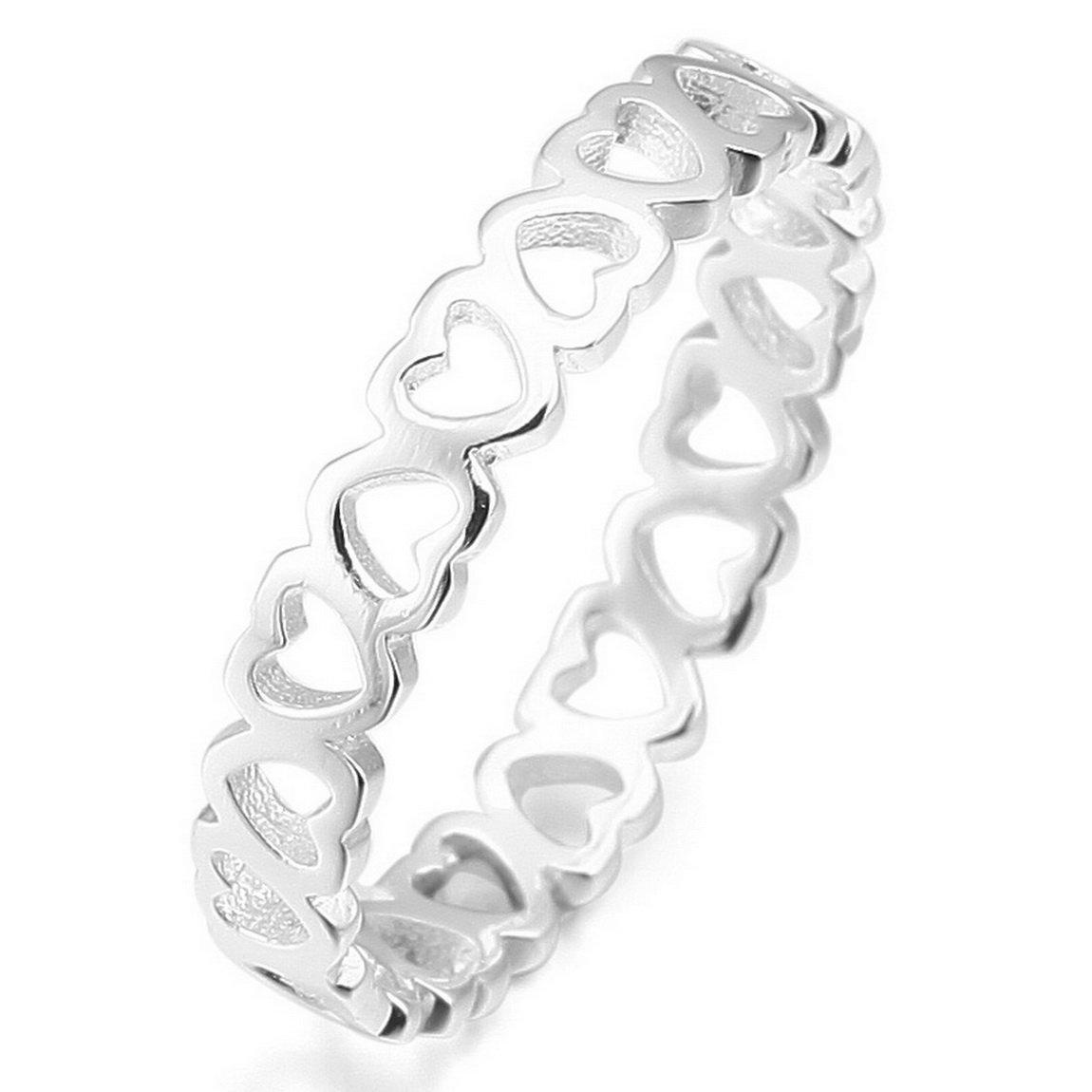 INBLUE Women's 925 Sterling Silver Ring Silver Tone Heart Wedding Love INBLUE Jewelry mne812-parent