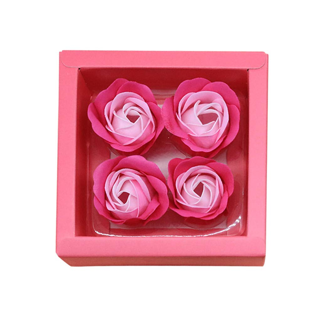 Lovewe 4pc Fower Petal Soap - Scented Bath Body Petal Rose Flower Soap For Valentine's Day Gift (D)