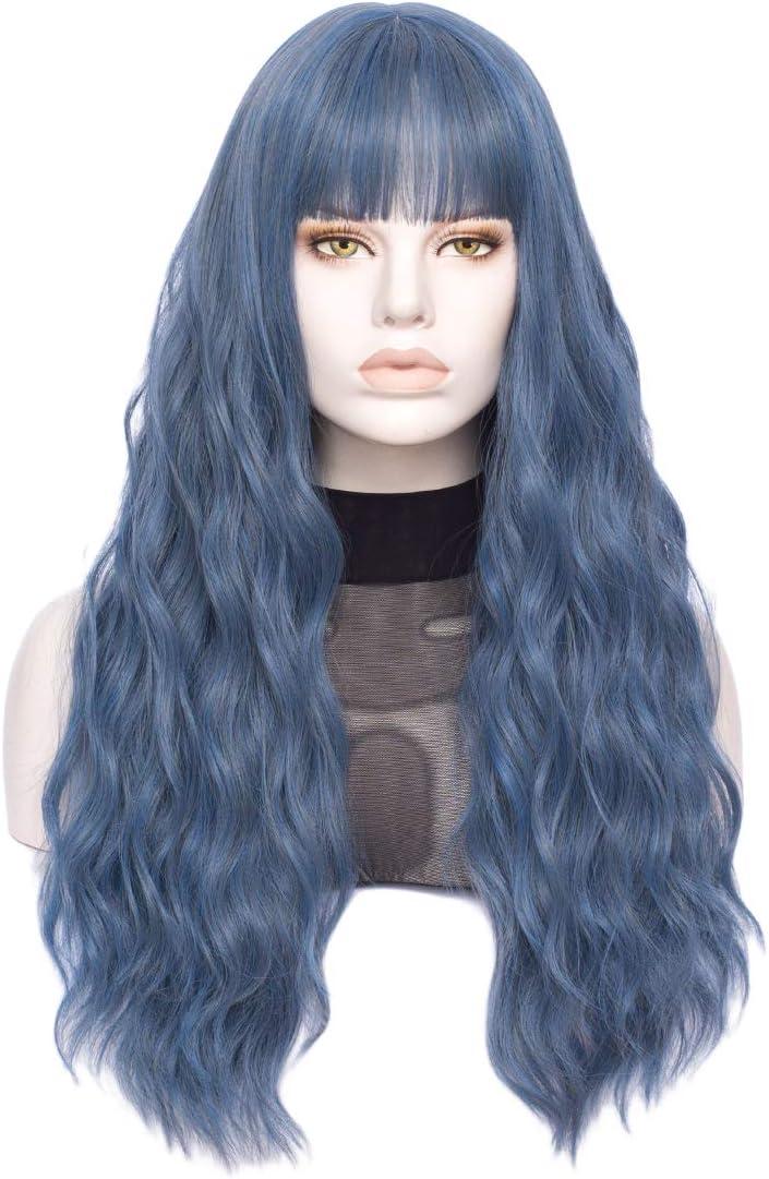 FVCENT Parrucca sintetica affascinante da 27 pollici con ricci lunghi Blu