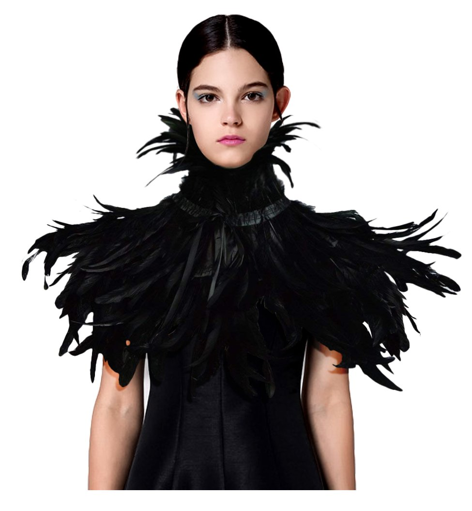 L'VOW Fashion Feather Cape Stole Black Shrug Shawl Poncho Iridescent