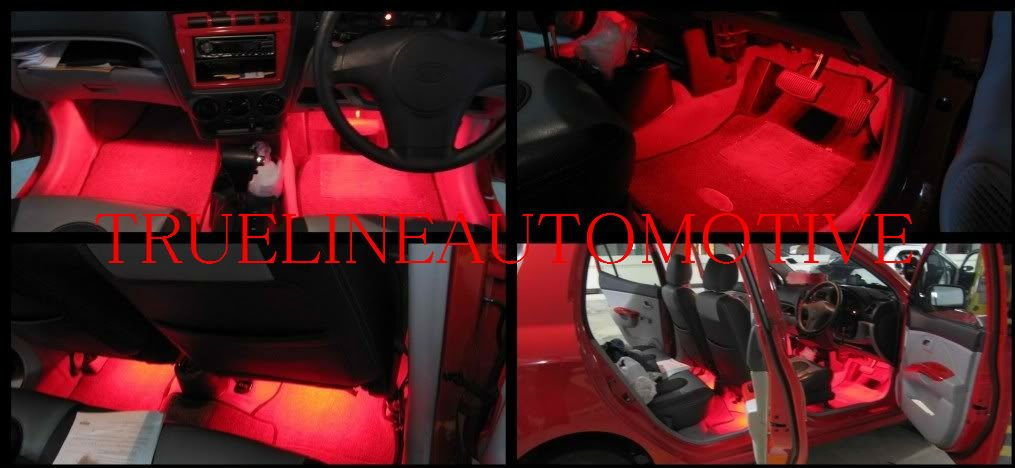 2 Piece Interior Footwell Trunk Light Strips Under Dash Kit (Red)