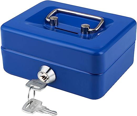"Cash Drawer Box 6/"" Piggy Bank Saving Box Lock Security Safe Storage Medium Steel"