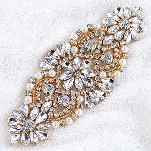 Iron on Rhinestone Applique Pearls Crystal Wedding Bridal Applique Sew on Beaded Applique Diamante Small Patch Embellishment Flower for Dress Sash Belt Cloth Headband Garter Shoe Heel - Beaded Flowers Gold