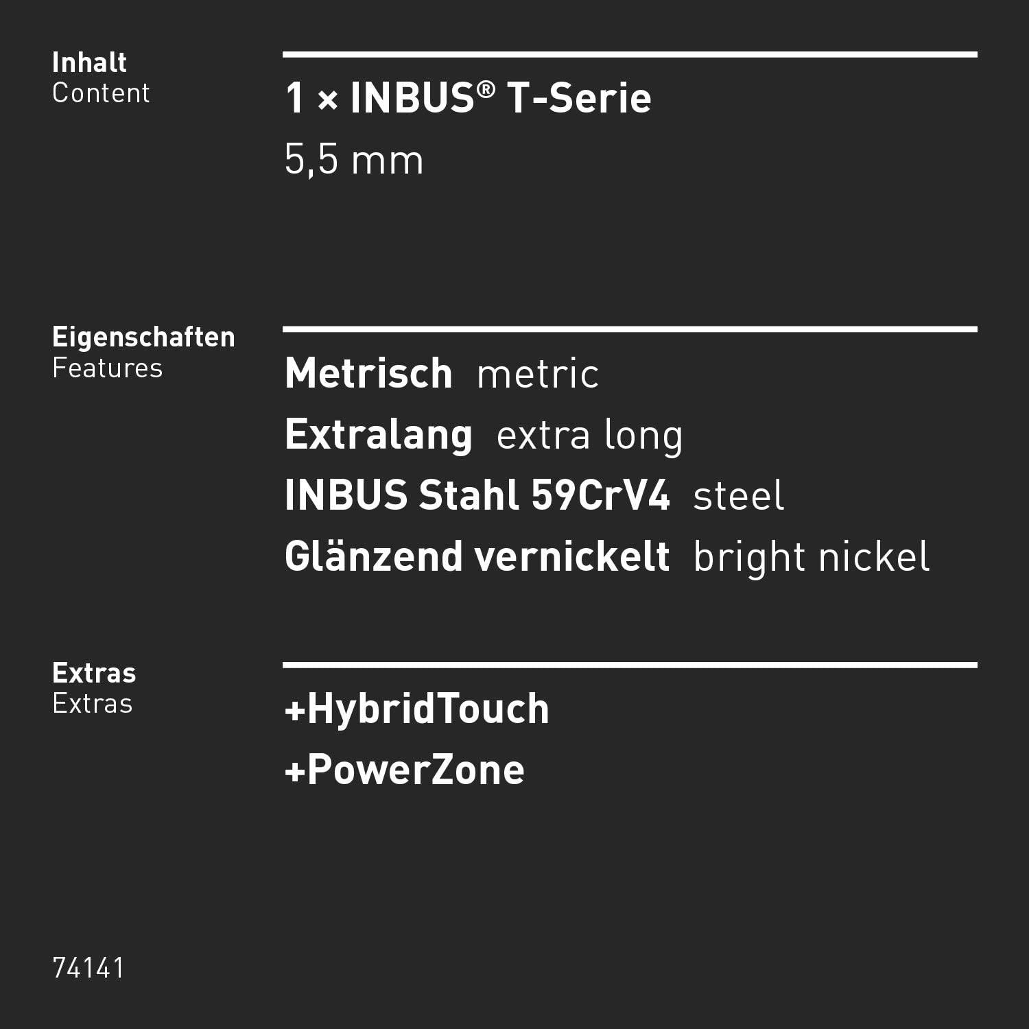 Made in Germany INBUS/® 74141 Hex Key with T-Handle and HybridTouch 5.5 mm