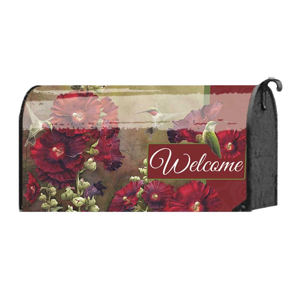 Welcome Friends Hollyhocks and Hummingbirds 22 x 18 Standard Size Mailbox Cover