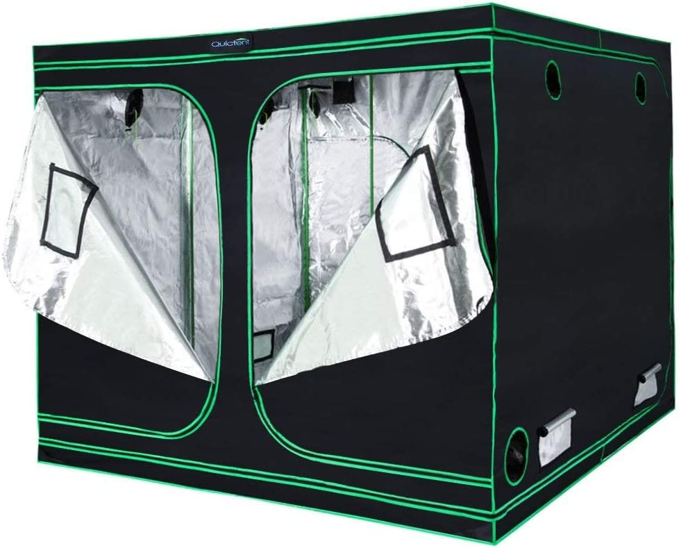 Quictent SGS Approved Eco-Friendly Reflective Mylar Hydroponic Grow Tent with Heavy Duty Anti-Burst Zipper and Waterproof Floor Tray for Indoor Plant Growing 96 x96 x78 , 8 Nylon Belts Provided