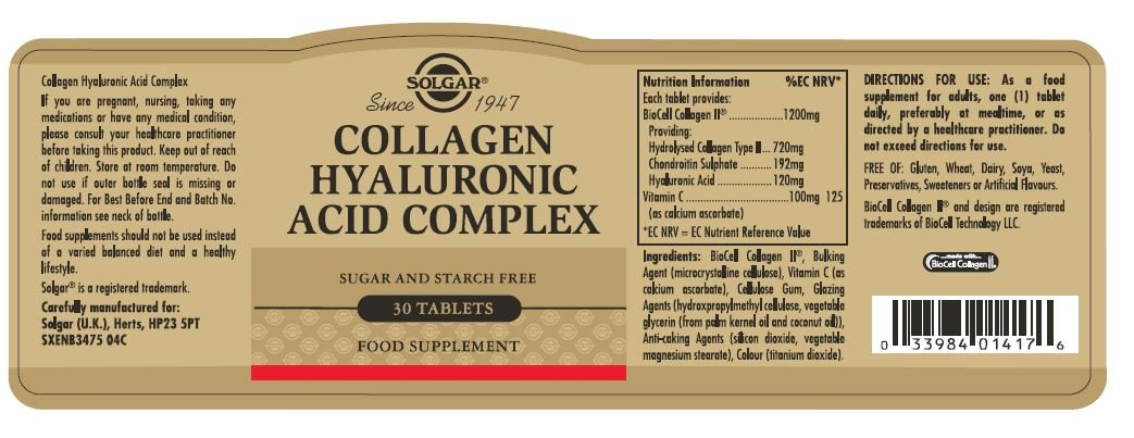 Solgar Nuevo Complejo de ácido hialurónico Colágeno - 30 Tabletas - Piel estado y recuperación - UE-Compatible: Amazon.es: Salud y cuidado personal