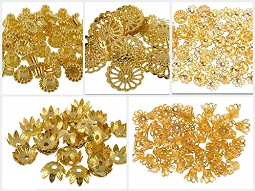 Bead Caps Gold - GOELX Fancy Most Popular Gold Bead Cap Designs for Jewellery Making, Pack of 250 Caps