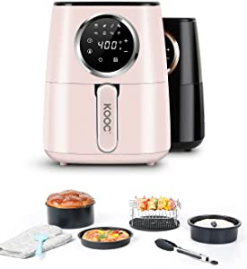 [NEW LAUNCH] KOOC Large Air Fryer with Accessories, 4.5 Quart Electric Air Fryer Oven, Exclusive Recipes, LED Touch Digital Screen, 8 in 1, Customized Temp/Time, Bonus Brush, Nonstick Basket, Pink