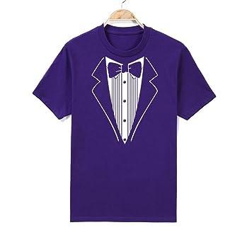 Camiseta de hombre, sonnena Camiseta de manga corta con impresión Cuello de hombre Stampare algodón manga corta Smoking Diseño divertido Camiseta Plus Camisa Top, XS, violeta, 30: Amazon.es: Industria, empresas y ciencia