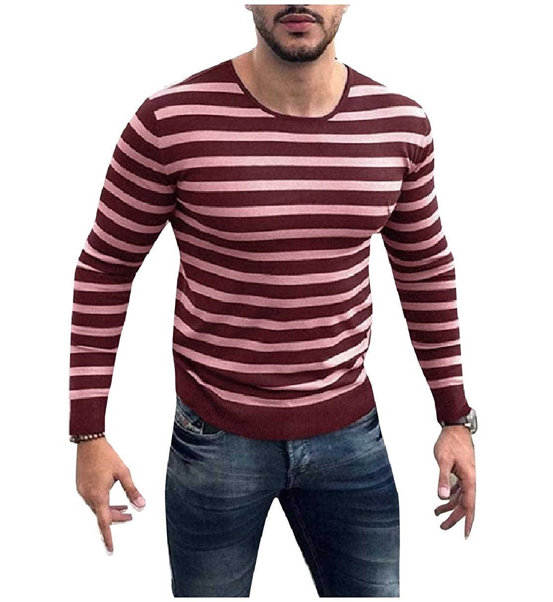 Coolred-Men Pullover Ultra Light Weight Crew-Neck Leisure Knitting Sweater