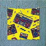 L-QN travel towelretro pop eighties boombox radio s background wallpaper Moisture Wicking W13.8 x W13.8