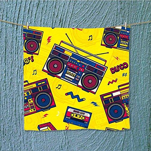 L-QN travel towelretro pop eighties boombox radio s background wallpaper Moisture Wicking W13.8 x W13.8 by L-QN