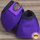 HILASON X-LARGE DURABLE HORSE BALLISTIC OVERREACH NO TURN BELL BOOTS PAIR PURPLE