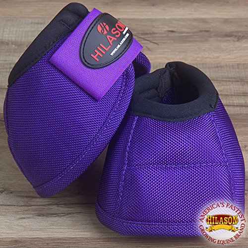 (HILASON Medium Durable Horse Ballistic Overreach NO Turn Bell Boots Pair Purple)