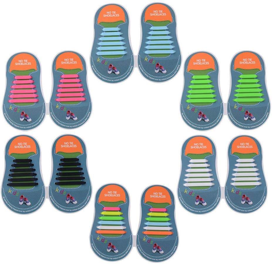 Yuccer Cordones Zapatillas Elasticos, Paquete de 6 Cordones de Goma de los Niños de Silicona Resistente al Agua