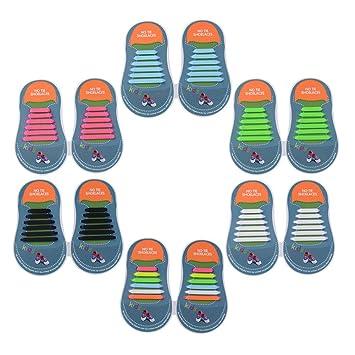 ventas calientes 23642 b3672 Yuccer Cordones Zapatillas Elasticos, Paquete de 6 Cordones de Goma de los  Niños de Silicona Resistente al Agua