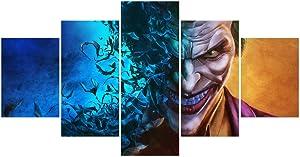 FUNHUA Joker Poster Wall Art Unframed 5 Piece DC Joker Canvas Painting for Home Living Room Girls Boys Room Bedroom Decor (No Frame)
