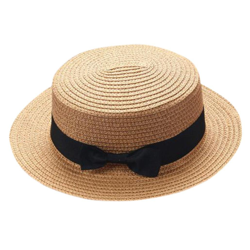 Children Girls Straw Bowler Derby Hat Round Flat Brim Boater Cap (Khaki)