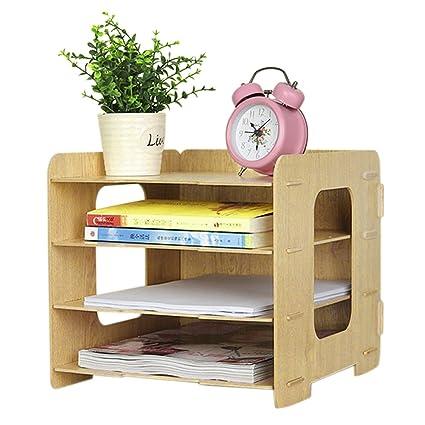 amazon com clobeau wooden diy 4 tier creative desktop file rack