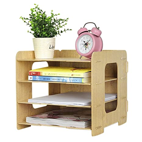 desk office file document paper. Clobeau Wooden DIY 4 Tier Creative Desktop File Rack Paper Document Magazine Holder Sorter Office Home Desk G