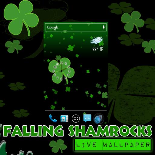 St Patrick Wallpaper: Falling Shamrocks St Patricks