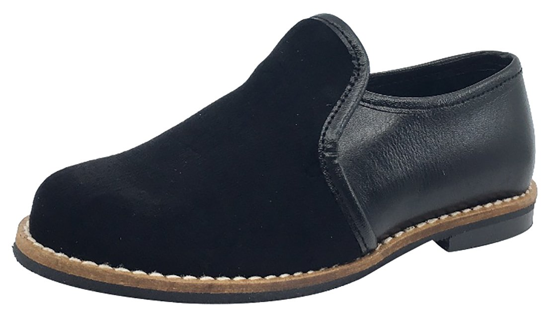 Luccini Kid's Slip-On Loafer (Black Leather, 26 M EU/9 M US Toddler)
